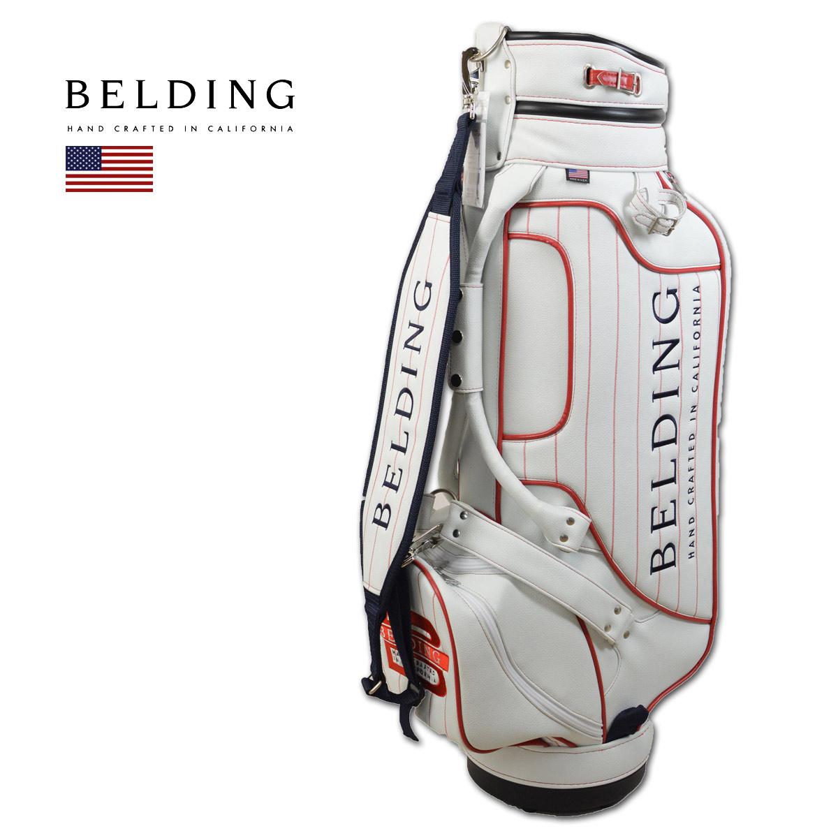 BELDING キャディバッグ メンズ 白 赤 hbcb-850124【 あす楽 送料無料 】[ ベルディング ゴルフ スタンド 8.5インチ 5分割 クルーズ CLUZ ゴルフバッグ キャディバック かっこいい おしゃれ golf 高級 レア ]