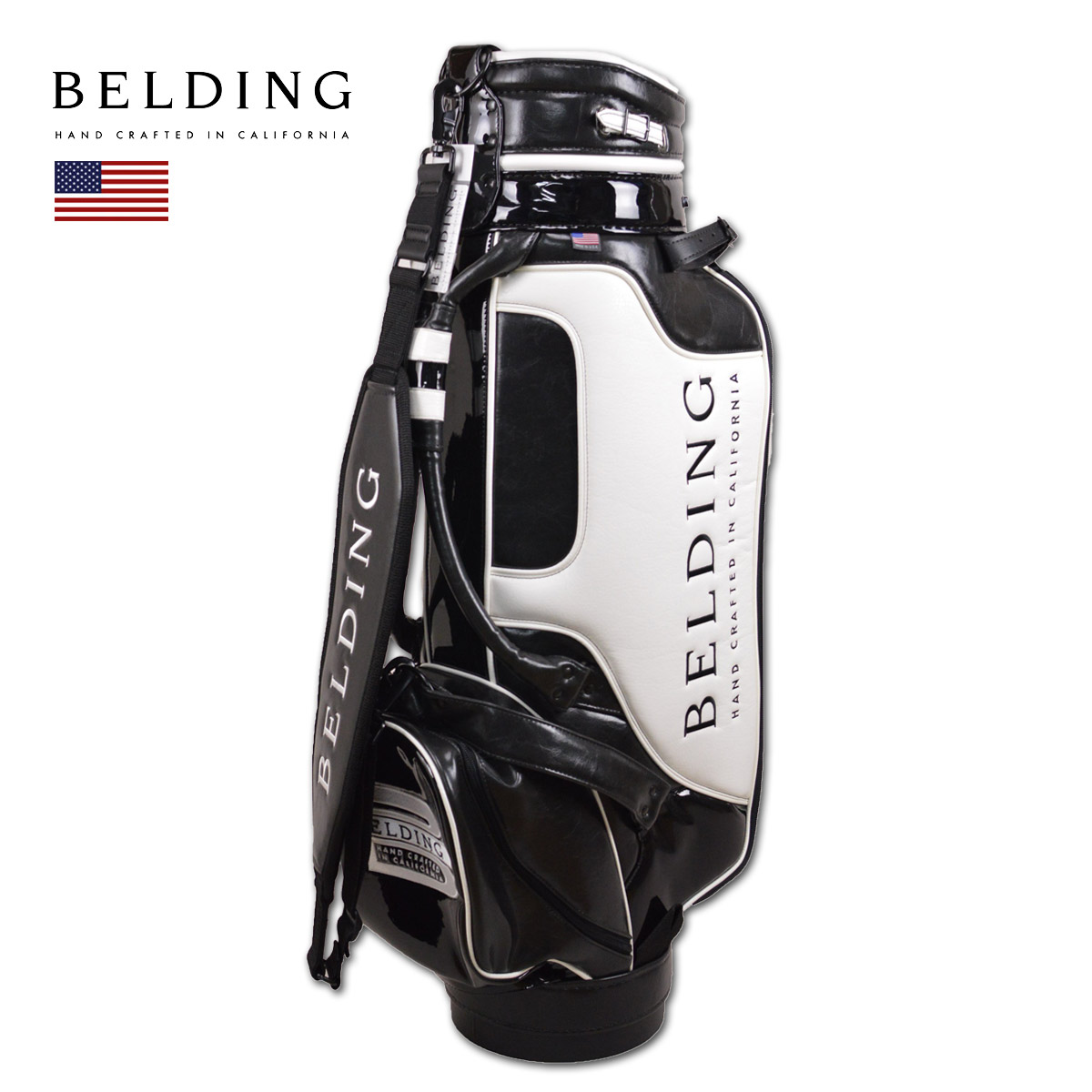 BELDING キャディバッグ メンズ 白 黒 hbcb850095【 あす楽 送料無料 】[ ベルディング ゴルフ スタンド 8.5インチ 6分割 CRUZ クルーズ ゴルフバッグ かっこいい おしゃれ golf 高級 レア 父の日 限定 キャディーバッグ ]