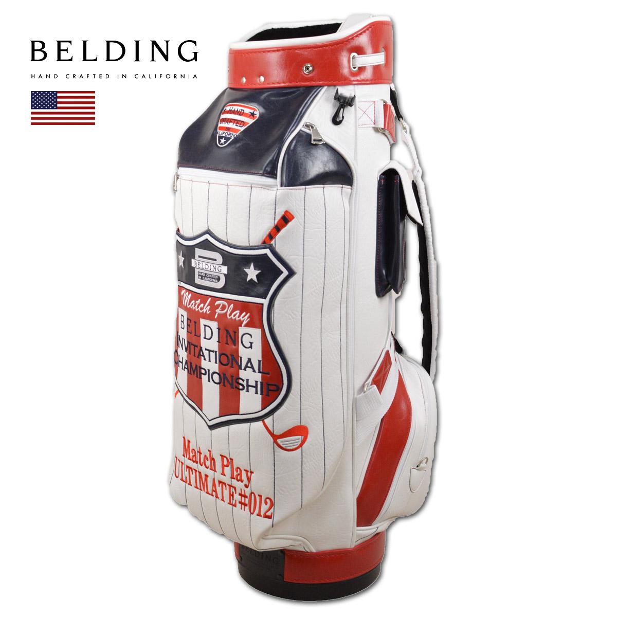 BELDING キャディバッグ メンズ 白 紺 赤 hbcb950084【 あす楽 送料無料 】[ ベルディング ゴルフ 9.5インチ 6分割 INVITATIONAL CHAMPIONSHIP MATCH PLAY FAT-B ゴルフバッグ かっこいい おしゃれ golf 高級 レア 限定 キャディーバッグ ]