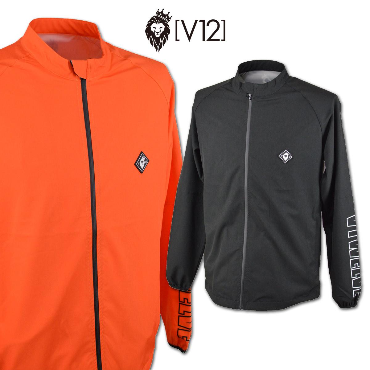 V12 ブルゾン メンズ 黒 オレンジ M L v122010jk03【 あす楽 送料無料 送料無料 】[ ヴィトゥエルヴ 長袖 ウインドブレーカー BIG LOGO JKT V12 ギフト かっこいい 賞品 golf ゴルフ 新作 プレゼント レア 紳士 父の日 ]