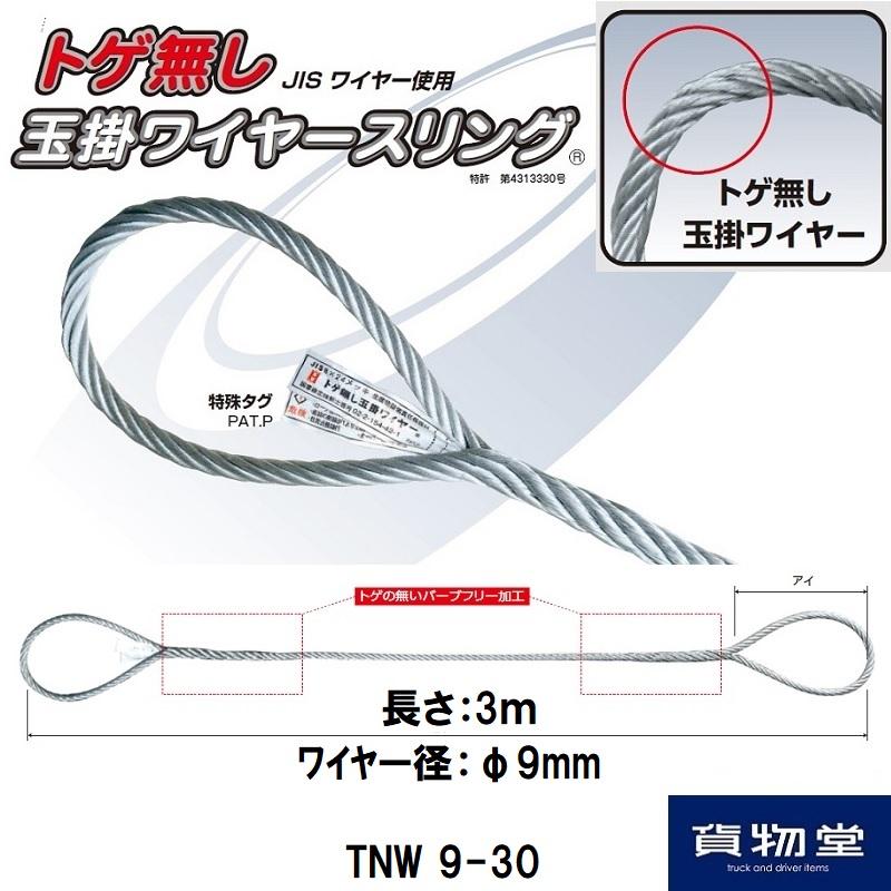 1着でも送料無料 トラック用品 ワイヤー 公式ショップ 玉掛 オーエッチ工業 JISワイヤー ワイヤースリング JIS TNW9-30オーエッチ工業トゲ無し玉掛ワイヤースリング9mm×3m 耐荷重620kgf 代引き不可 とげ無し