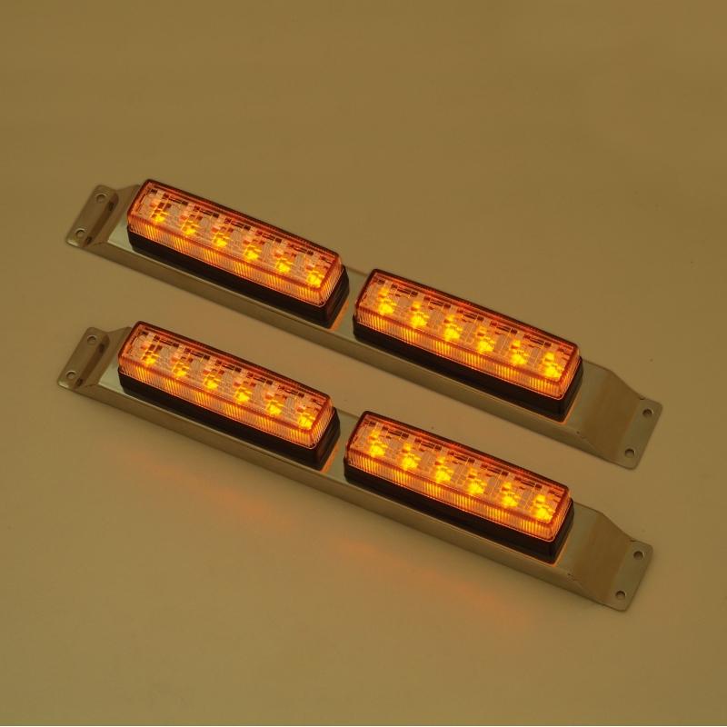 YAC C7242 流星Re6LED車高灯ランプ2連セットL&R クリアレンズ/LED橙(24V用)