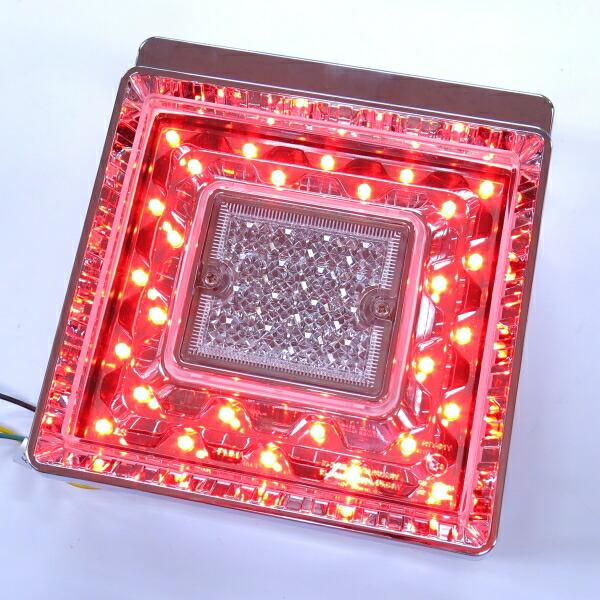 JB角型LEDテールランプ単体 クリアレンズ LED赤/センター無灯火【代引不可】