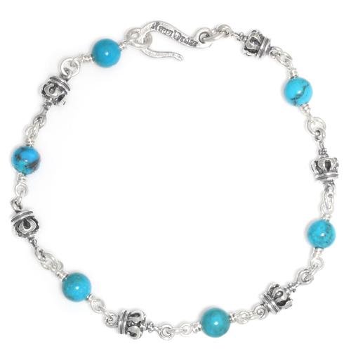 ロイヤルオーダー【公式】【ブレスレット】Tiny Royal Crown & Turquoise beads Alternate 【ROYAL ORDER】