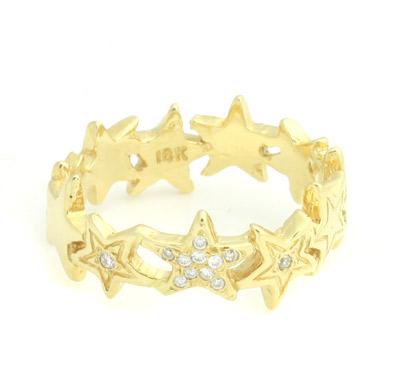 ロイヤルオーダー【公式】【リング】Starshine Thin Band w/Pave Diamonds 18K (US5-US6.5) 【ROYAL ORDER】