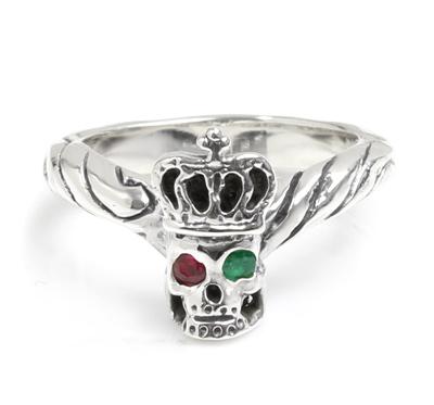 ロイヤルオーダー【公式】【リング】Ribbon Tiara Band w/ Skull Wearing Crown w/ RUBY&EMERALD in eyes 【ROYAL ORDER】