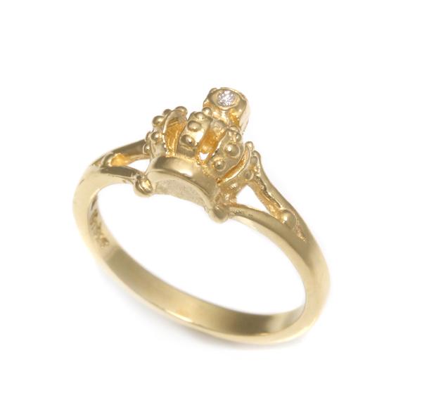 【ロイヤルオーダー リング】ANGELIQUE CROWN BAND W/1 DIAMOND IN CROSS 18K YELLOWGOLD