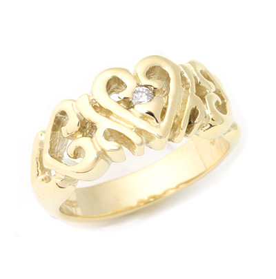 ロイヤルオーダー【公式】【リング】Heart Band w/Diamond 10k gold(US2-US4.5) 【ROYAL ORDER】