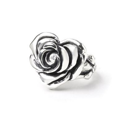 【ロイヤルオーダー リング】Heart Rose with Center CZ & 2Side CZ 【ROYAL ORDER】
