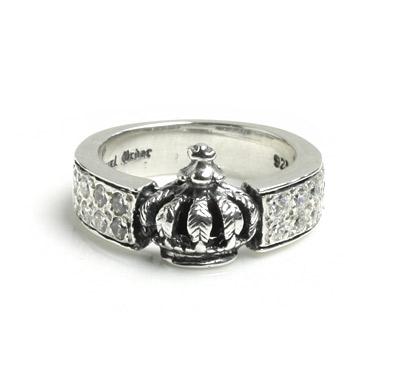 ロイヤルオーダー【公式】【リング】Demi Band Crown Ring (Pave CZ)