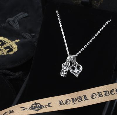 【ロイヤルオーダー ペンダント】[ストア特別セット]SKULL w/ CROWN&SMALL ALLEGRA HEART W DIAMONDS 【ROYAL ORDER】