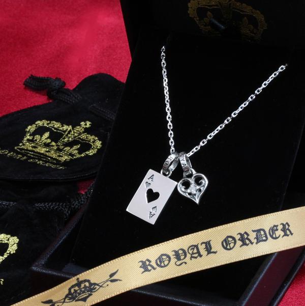 ロイヤルオーダー【公式】【ペンダント】[スペシャルセット]SMALL ALLEGRA HEART W DIAMONDS&ACE OF HEART 【ROYAL ORDER】:ロイヤルオーダーストア