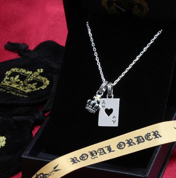 ロイヤルオーダー【公式】【ペンダント】【ストアスペシャルセット】TINY CROWN W/1 YELLOW DIAMOND &ACE OF HEART【ROYAL ORDER】