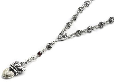 【ロイヤルオーダー ロザリオ】Rosary w/Pave Heart 【ROYAL ORDER】