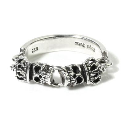 ロイヤルオーダー【公式】【リング】Skull Chain w. Crowns