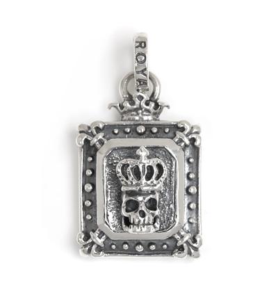 【ロイヤルオーダー ペンダント】Demi God Square w/ Skull Wearing Crown 【ROYAL ORDER】