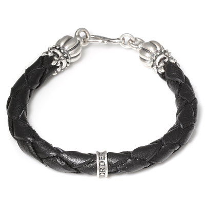 ロイヤルオーダー【公式】【ブレスレット】Thick braided bracelet w/ Crown Tips 【ROYAL ORDER】