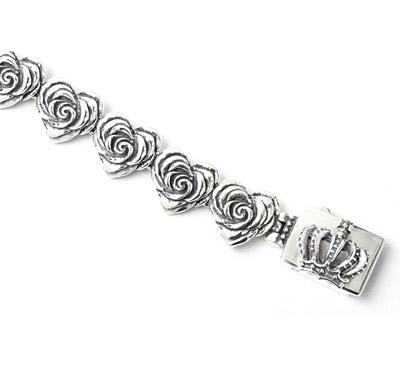 【ロイヤルオーダー ブレスレット】Small Heart Rose Links with Crown Box Clip 【ROYAL ORDER】