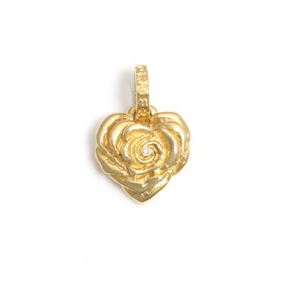 ロイヤルオーダー【公式】【ペンダント】Small Heart Rose w/ Diamond 18K YELLOW GOLD 【ROYAL ORDER】