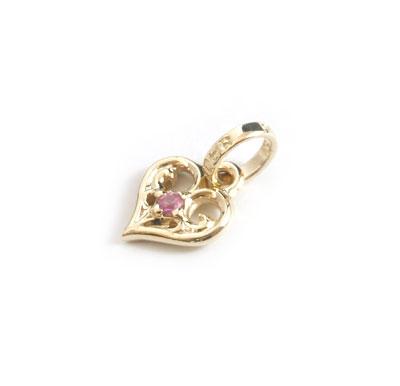 ロイヤルオーダー【公式】【ペンダント】SMALL ALLEGRA HEART W/PINK SAPPHIRE 10KGOLD 【ROYAL ORDER】