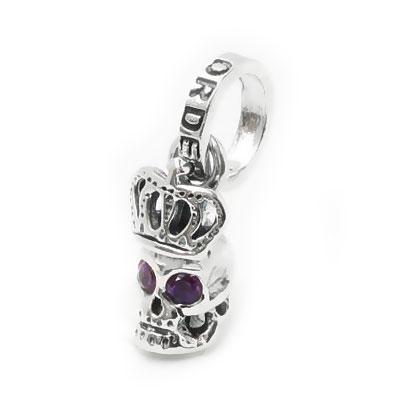 【限定品】ロイヤルオーダー【公式】【ペンダント】Skull with Crown with Amethyst in eyes【天然石】 【ROYAL ORDER】