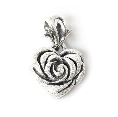 ロイヤルオーダー【公式】【ペンダント】Heart Rose (New) with Pave CZ 【ROYAL ORDER】