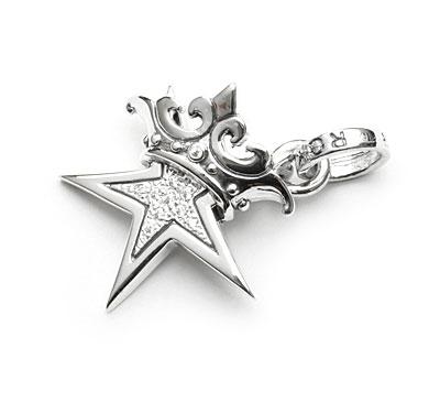 ロイヤルオーダー【公式】【ペンダント】SMALL STAR w CROWN w Paved CZ 【ROYAL ORDER】