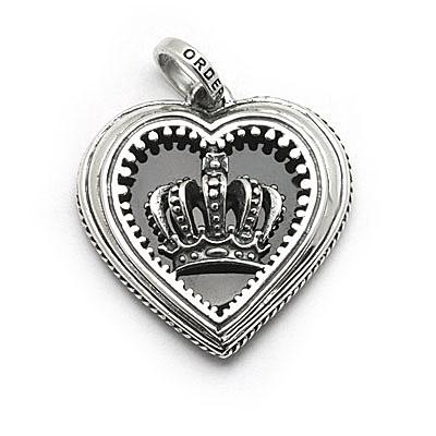 ロイヤルオーダー【公式】【ペンダント】MAGESTIQUE HEART FRAMED ONYX W/CROWN 【ROYAL ORDER】