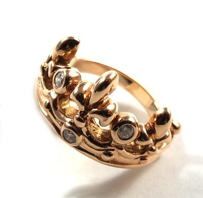【ロイヤルオーダー リング】TIARA W/Diamonds 18K PINK GOLD size9-10.5 【ROYAL ORDER】