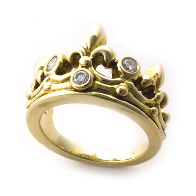 ロイヤルオーダー【公式】【リング】TIARA W/Diamonds 18K YELLOW GOLD size7-8.5 【ROYAL ORDER】