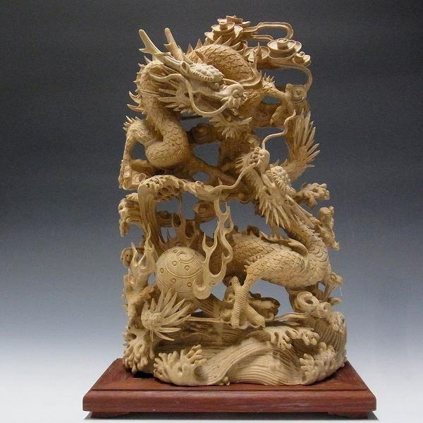 柘植製 細工極み彫り双龍 木彫りの龍 [Ryusho]