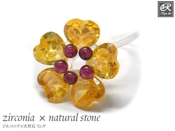 ジルコニア×天然石 リング パワーストーン 水晶 ガーネット ジルコニア 送料無料 新品 通販 激安◆