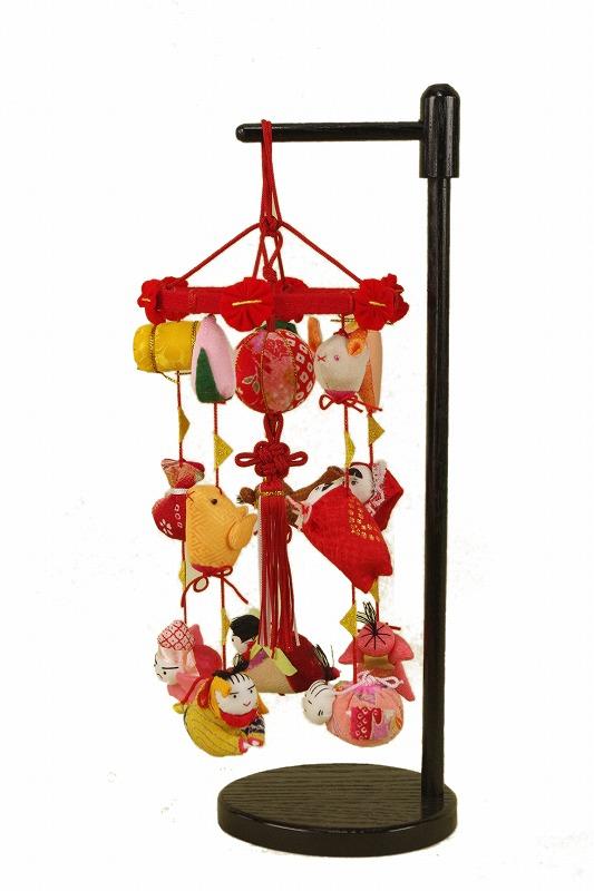 さげもん型つるし雛台付 (特小) 15細工さげ木目込み毬つるし飾り 雛人形さげ飾り