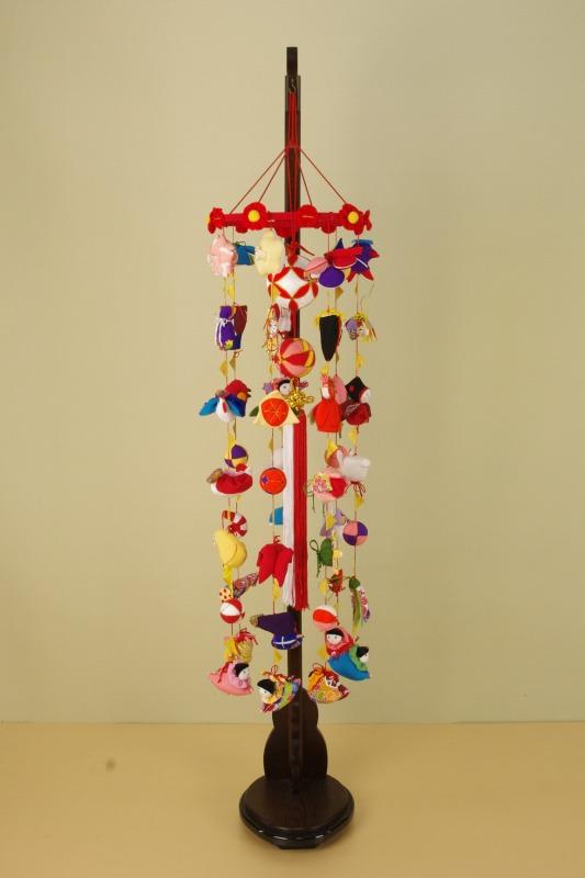 さげもん型つるし雛台付 (中) 49細工さげ二連毬つるし飾り 雛人形さげ飾り