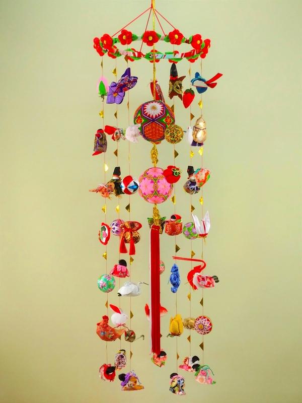 柳川さげもん美草 L181Y 伝承柳川まり12花赤+12花ピンク つるし飾り本式祝い用・ 逸品手作りつるし雛人形