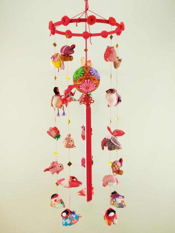 柳川さげもん美草 伝承柳川まり古布つるし飾り菊三菱帯・ 逸品手作りつるし雛人形