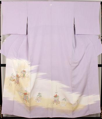 【送料無料】色留袖★正絹★寿光織 祇園祭 山鉾巡業 ki22498【美品】【中古】