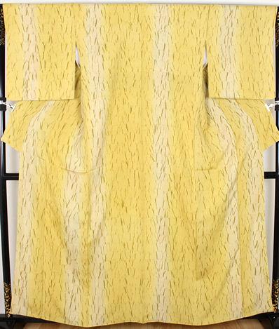 【送料無料】手織紬地★小紋★正絹★絞り縞 ki22201【新品】