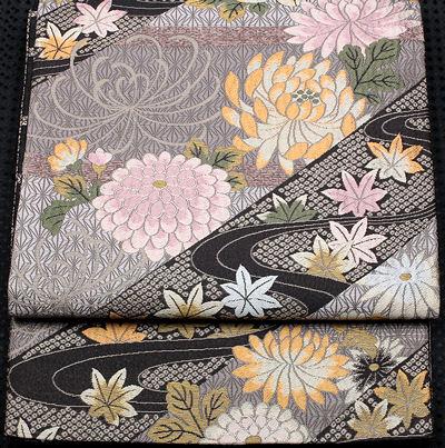 【送料無料】袋帯★正絹★菊紅葉 F2104【新品】