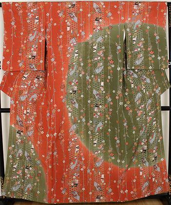 【送料無料】訪問着★正絹★桜に花扇子 縦縞 ki22398【美品】【中古】