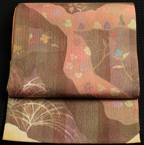 【送料無料】西陣織袋帯★正絹★遠山に草花 F845【新品】