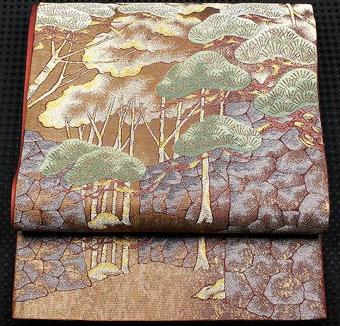 【送料無料】西陣織袋帯★正絹★松風景 F1239【新品】