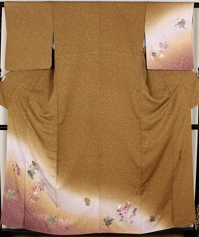 【送料無料】訪問着★正絹★金箔焼き加工紅葉 ki19686【美品】【中古】