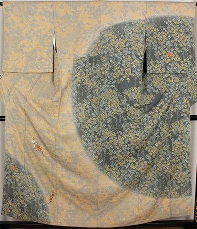 【送料無料】訪問着★正絹★刺繍花 7号 ki19700【美品】【中古】