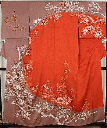 【送料無料】絞り訪問着★正絹★絞り牡丹・橘 ki22300【美品】【中古】