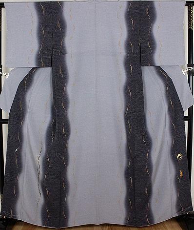【送料無料】藤本隆士氏作★訪問着★正絹★螺鈿流水 15号 ki19549【美品】【中古】