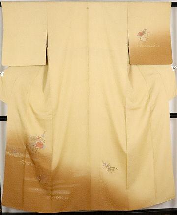 【送料無料】訪問着★正絹★刺繍菊萩 地紙文 ki23655【美品】【中古】
