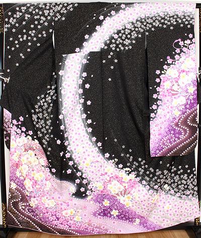【送料無料】振袖★正絹★桜花 ki18672【美品】【中古】