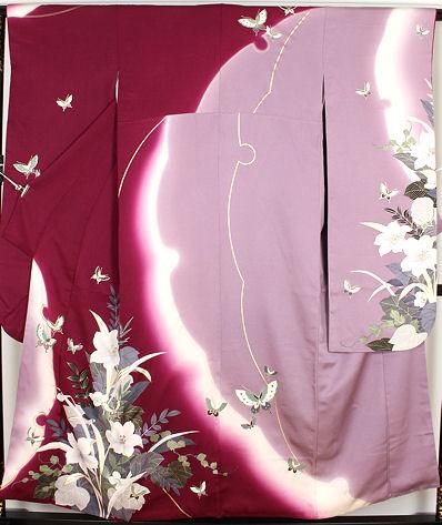 【送料無料】振袖★正絹★刺繍蝶に百合 ki19053【美品】【中古】