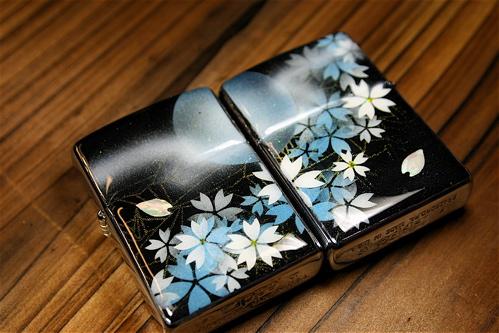 【名入れ】和柄ペアzippo「雨」匠の技!桜色限定ペアジッポ!職人の手作り!オリジナル和風ペアライター!ギフト&プレゼント&自分のご褒美!